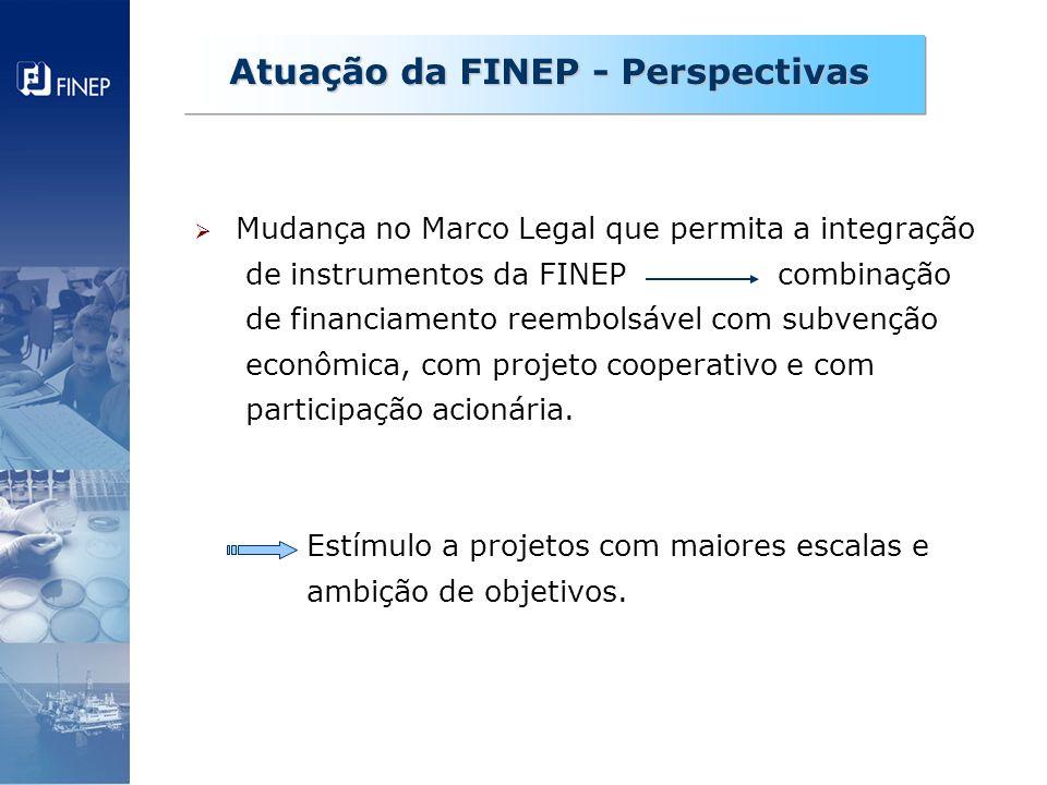 Mudança no Marco Legal que permita a integração de instrumentos da FINEP combinação de financiamento reembolsável com subvenção econômica, com projeto