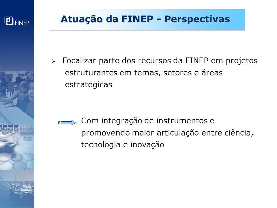 Focalizar parte dos recursos da FINEP em projetos estruturantes em temas, setores e áreas estratégicas Com integração de instrumentos e promovendo mai