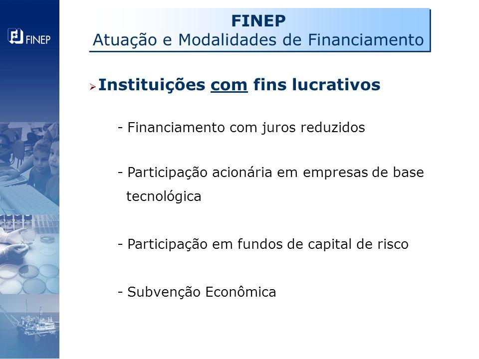 Instituições com fins lucrativos - Financiamento com juros reduzidos - Participação acionária em empresas de base tecnológica - Participação em fundos