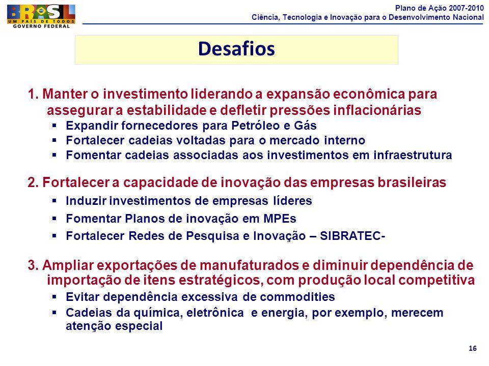 16 Desafios 1. Manter o investimento liderando a expansão econômica para assegurar a estabilidade e defletir pressões inflacionárias Expandir forneced