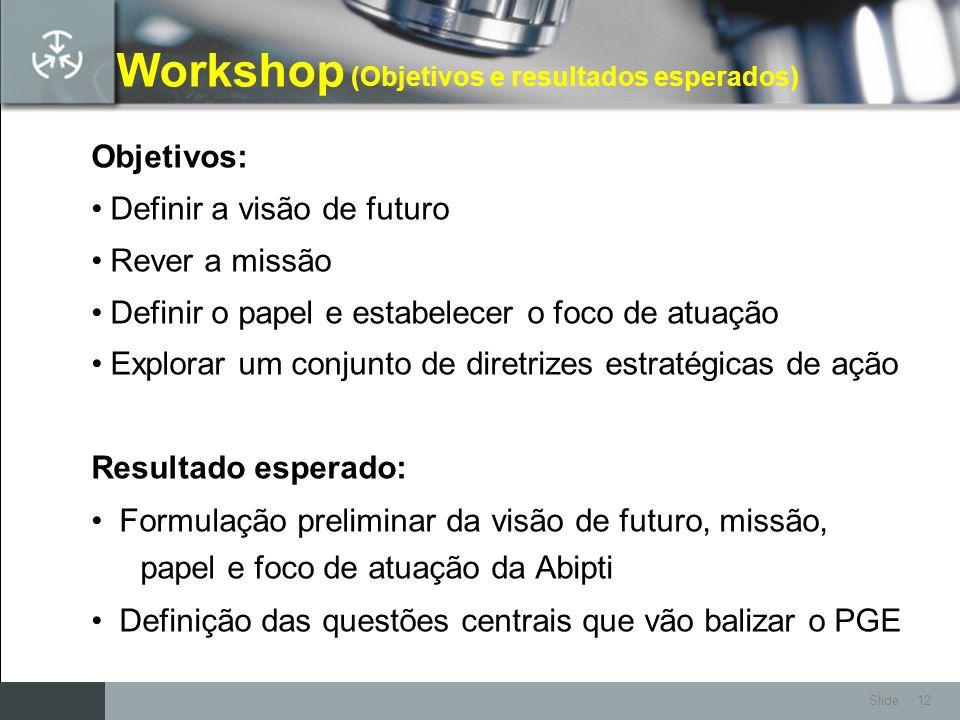 Slide 12 Workshop (Objetivos e resultados esperados) Objetivos: Definir a visão de futuro Rever a missão Definir o papel e estabelecer o foco de atuaç