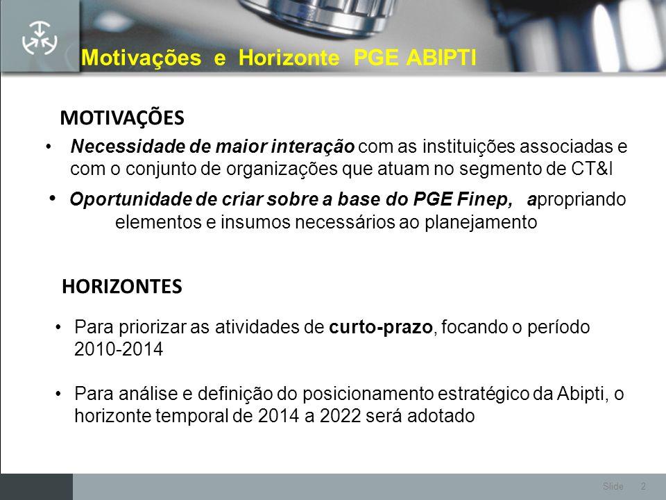 Slide 2 Motivações e Horizonte PGE ABIPTI Necessidade de maior interação com as instituições associadas e com o conjunto de organizações que atuam no