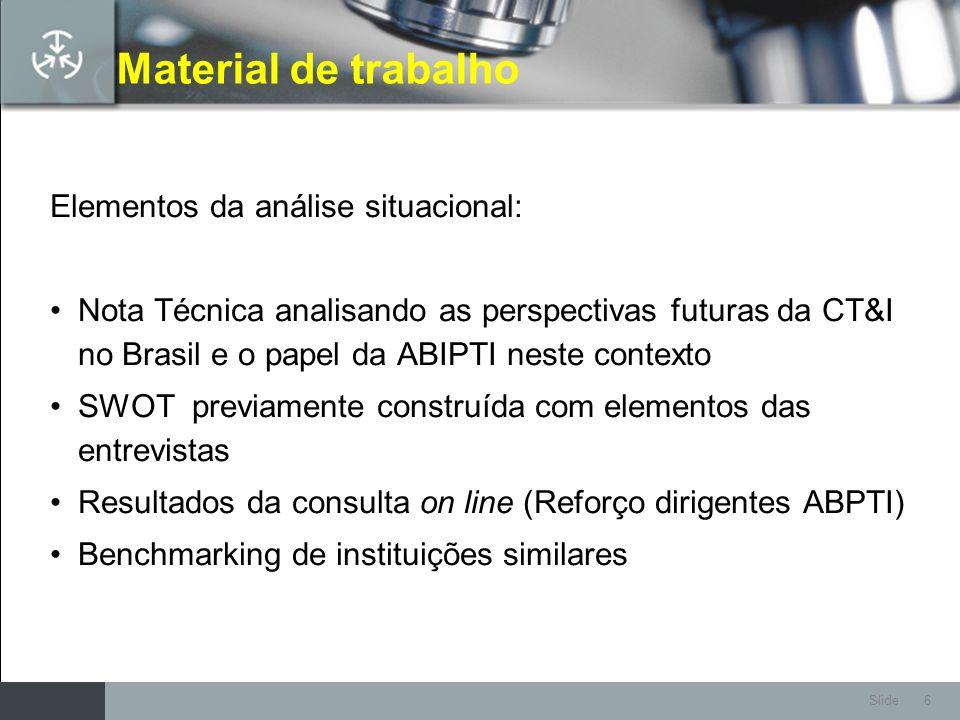 Slide 6 Material de trabalho Elementos da análise situacional: Nota Técnica analisando as perspectivas futuras da CT&I no Brasil e o papel da ABIPTI n