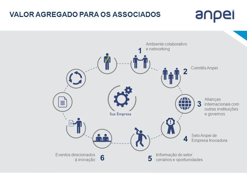 Ambiente colaborativo e networking 1 Comitês Anpei 2 Alianças internacionais com outras instituições e governos 3 Selo Anpei de Empresa Inovadora 4 In