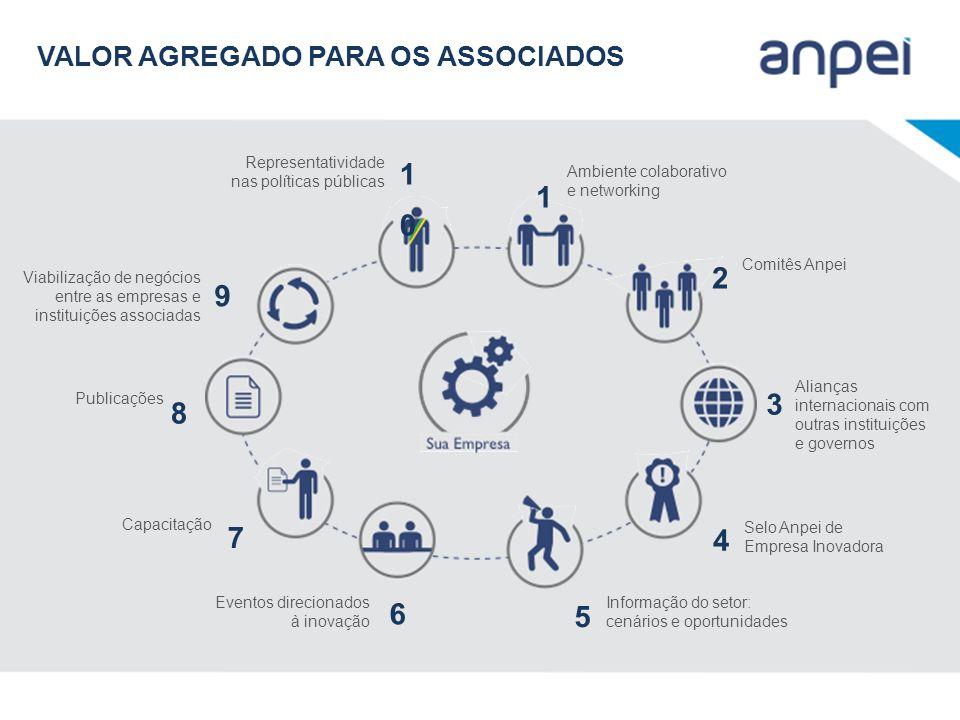 Representatividade nas políticas públicas 1010 Ambiente colaborativo e networking 1 Comitês Anpei 2 Alianças internacionais com outras instituições e