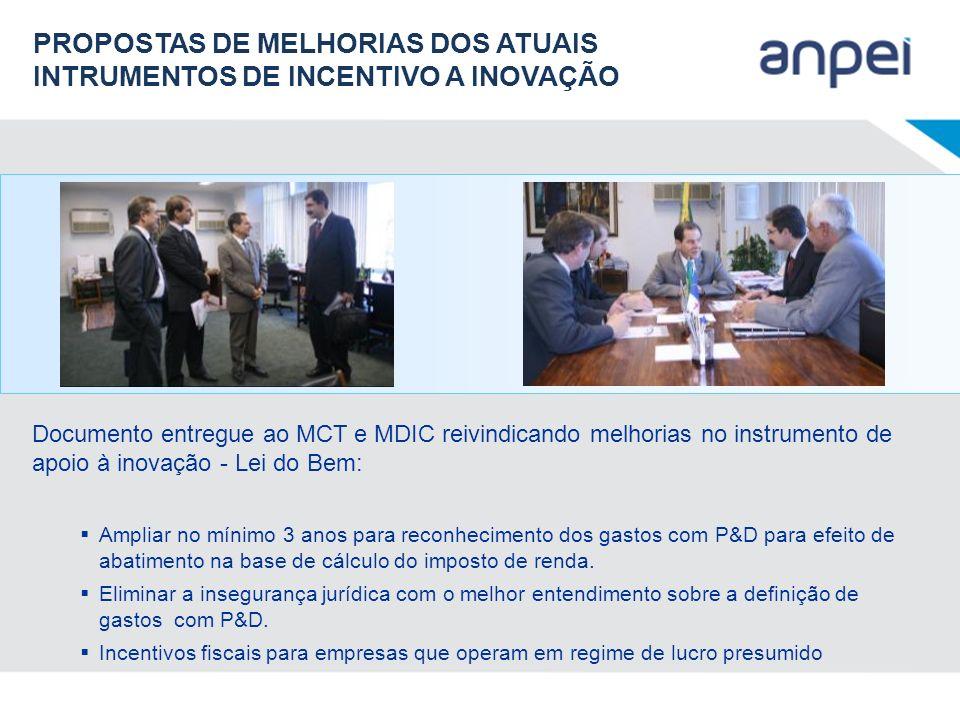 Documento entregue ao MCT e MDIC reivindicando melhorias no instrumento de apoio à inovação - Lei do Bem: Ampliar no mínimo 3 anos para reconhecimento