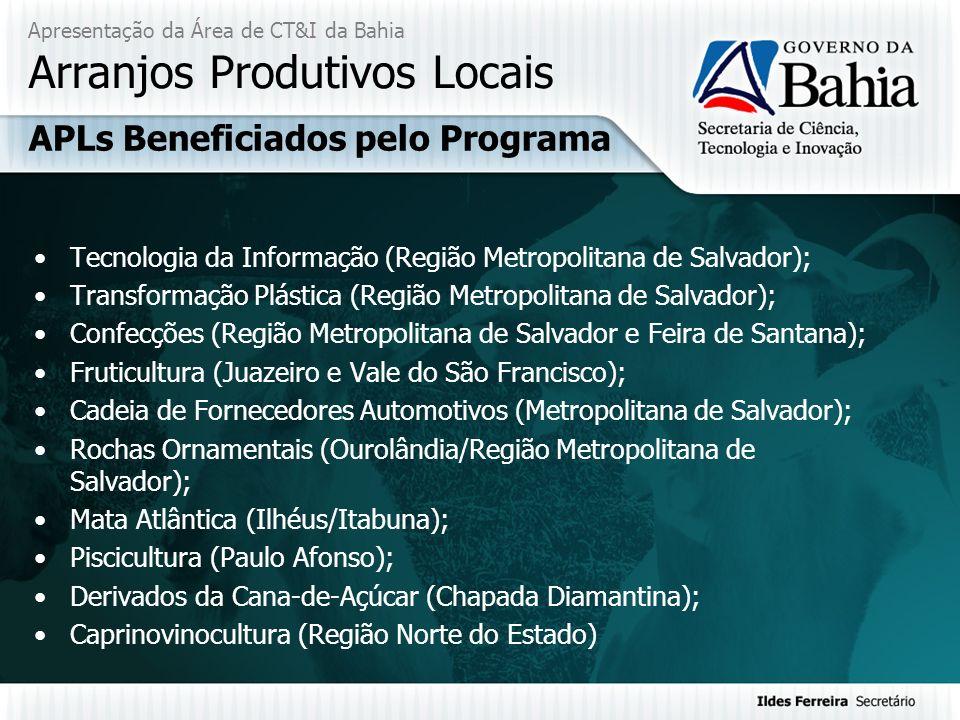 Apresentação da Área de CT&I da Bahia Arranjos Produtivos Locais Tecnologia da Informação (Região Metropolitana de Salvador); Transformação Plástica (