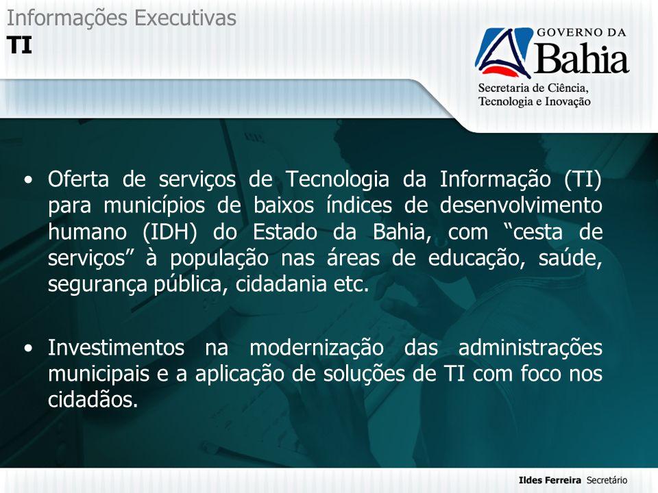 Informações Executivas TI Oferta de serviços de Tecnologia da Informação (TI) para municípios de baixos índices de desenvolvimento humano (IDH) do Est