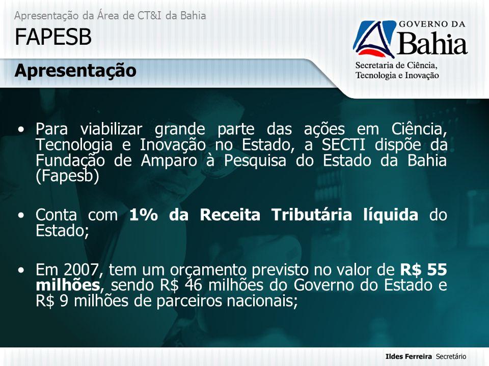 Apresentação da Área de CT&I da Bahia FAPESB Para viabilizar grande parte das ações em Ciência, Tecnologia e Inovação no Estado, a SECTI dispõe da Fun