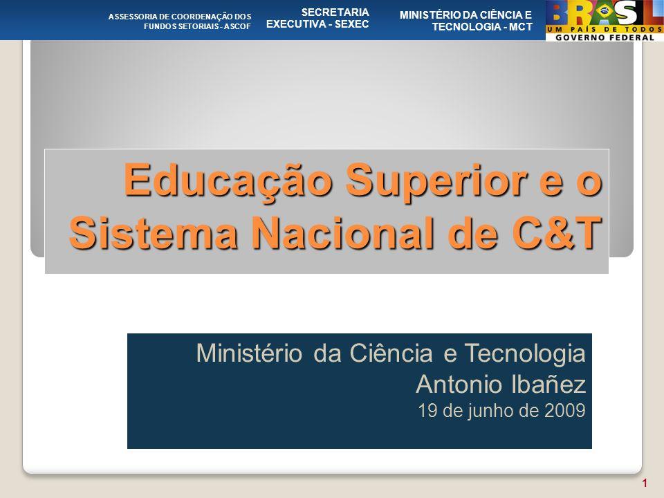 Educação Superior e o Sistema Nacional de C&T Ministério da Ciência e Tecnologia Antonio Ibañez 19 de junho de 2009 ASSESSORIA DE COORDENAÇÃO DOS FUNDOS SETORIAIS - ASCOF SECRETARIA EXECUTIVA - SEXEC MINISTÉRIO DA CIÊNCIA E TECNOLOGIA - MCT 1