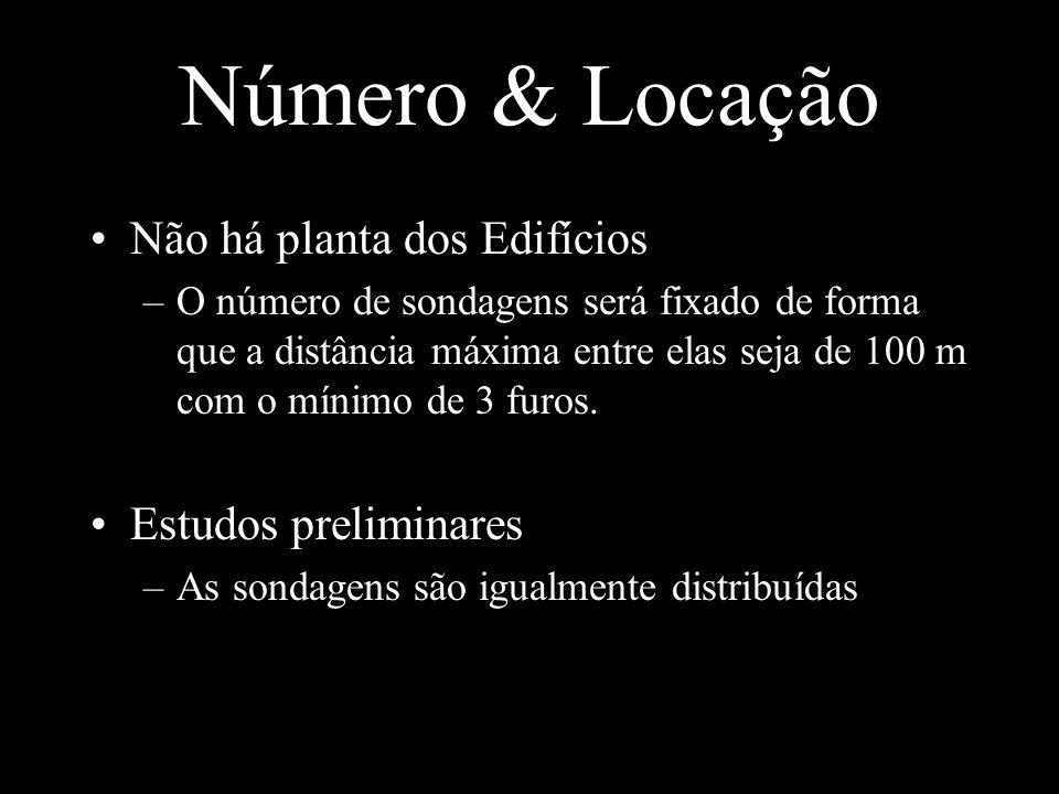 Número & Locação Não há planta dos Edifícios –O número de sondagens será fixado de forma que a distância máxima entre elas seja de 100 m com o mínimo