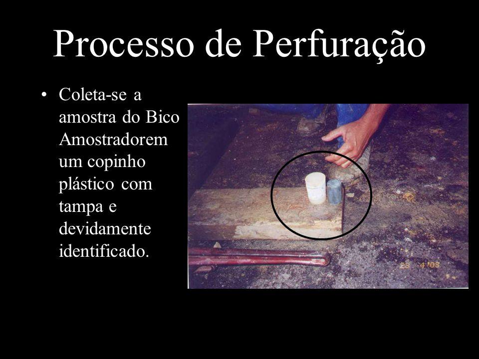 Processo de Perfuração Coleta-se a amostra do Bico Amostradorem um copinho plástico com tampa e devidamente identificado.