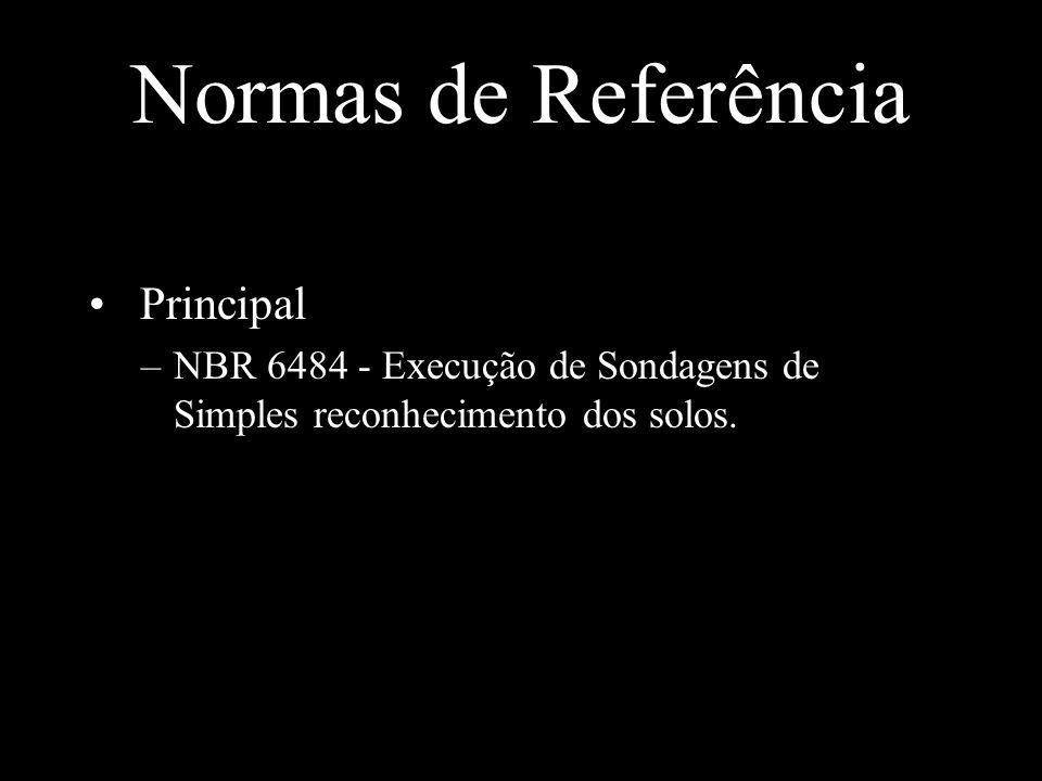 Principal –NBR 6484 - Execução de Sondagens de Simples reconhecimento dos solos.