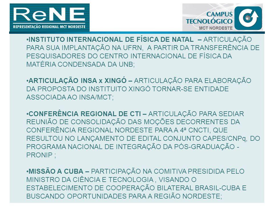 INSTITUTO INTERNACIONAL DE FÍSICA DE NATAL – ARTICULAÇÃO PARA SUA IMPLANTAÇÃO NA UFRN, A PARTIR DA TRANSFERÊNCIA DE PESQUISADORES DO CENTRO INTERNACIO