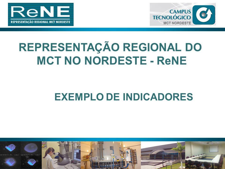 19 REPRESENTAÇÃO REGIONAL DO MCT NO NORDESTE - ReNE EXEMPLO DE INDICADORES