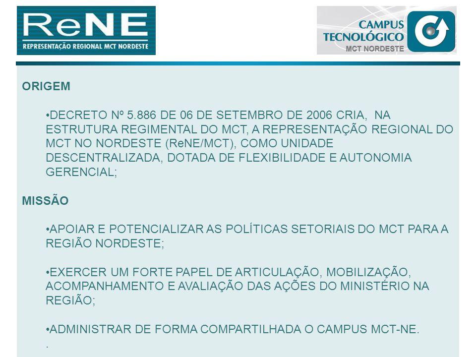 DE ACORDO COM A PORTARIA MCT Nº 922 DE 7 DE DEZEMBRO DE 2006, CABE À ReNE/MCT, ADMINISTRAR DE FORMA COMPARTILHADA COM AS DEMAIS UNIDADES INSTALADAS, O CAMPUS MCT-NE; PARA ISSO, CONTA-SE COM UMA COMISSÃO DE ADMINISTRAÇÃO DO CAMPUS (CAC) CUJO REGULAMENTO É DISCIPLINADO PELA PORTARIA MCT Nº 269, DE 27 DE ABRIL DE 2009; QUADRO FUNCIONAL CONTA COM QUADRO DE PESSOAL TÉCNICO/ADMINISTRATIVO RECÉM- CONCURSADO COMPOSTO DE : 03 ANALISTAS EM C&T - COM MESTRADO; 01 ANALISTA EM C&T - COM ESPECIALIZAÇÃO 03 ASSISTENTES EM C&T - CONCLUINDO GRADUAÇÃO; 01 TÉCNICO EM FINANÇAS - NÍVEL SUPERIOR 01 SECRETÁRIA 01 AUXILIAR ADMINISTRATIVO 01 MOTORISTA