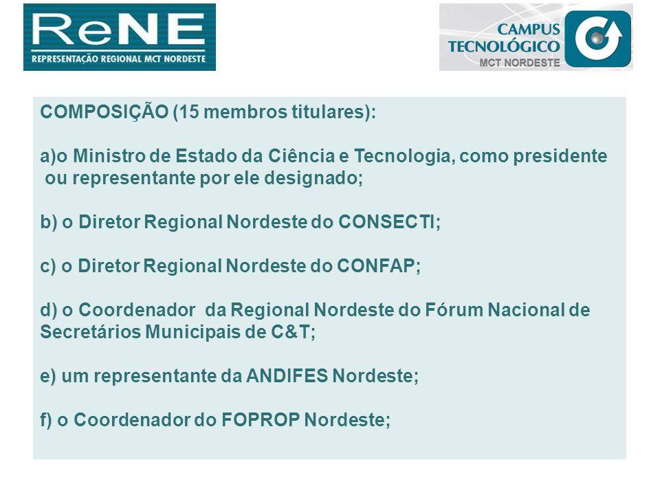 COMPOSIÇÃO (15 membros titulares): a)o Ministro de Estado da Ciência e Tecnologia, como presidente ou representante por ele designado; b) o Diretor Re