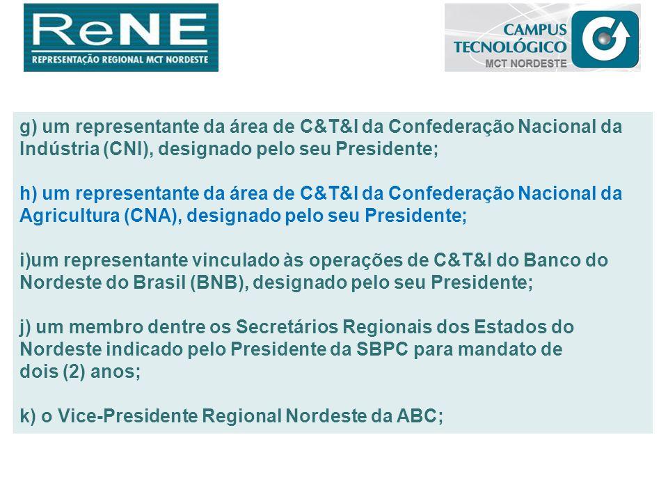g) um representante da área de C&T&I da Confederação Nacional da Indústria (CNI), designado pelo seu Presidente; h) um representante da área de C&T&I