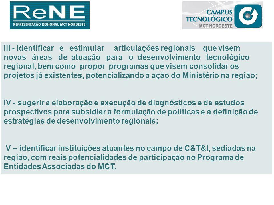 III - identificar e estimular articulações regionais que visem novas áreas de atuação para o desenvolvimento tecnológico regional, bem como propor pro