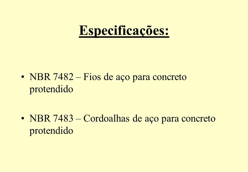 Especificações: NBR 7482 – Fios de aço para concreto protendido NBR 7483 – Cordoalhas de aço para concreto protendido