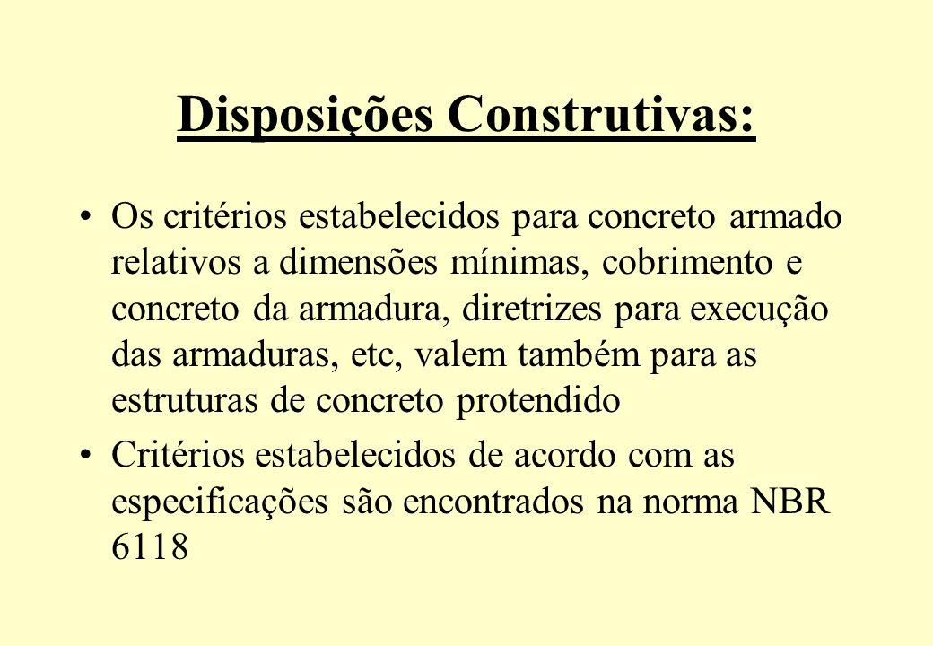 Disposições Construtivas: Os critérios estabelecidos para concreto armado relativos a dimensões mínimas, cobrimento e concreto da armadura, diretrizes