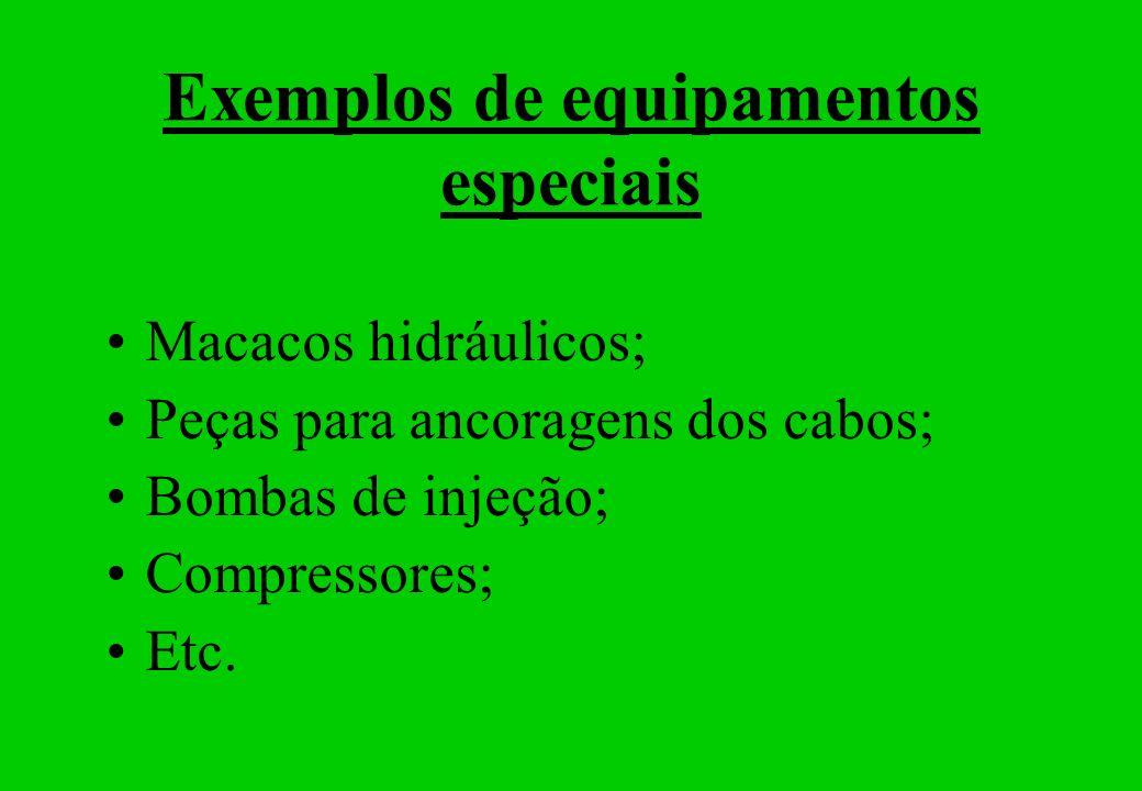 Exemplos de equipamentos especiais Macacos hidráulicos; Peças para ancoragens dos cabos; Bombas de injeção; Compressores; Etc.