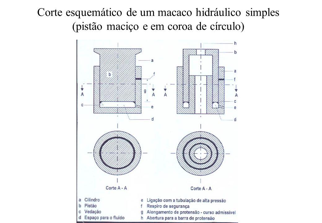 Corte esquemático de um macaco hidráulico simples (pistão maciço e em coroa de círculo)