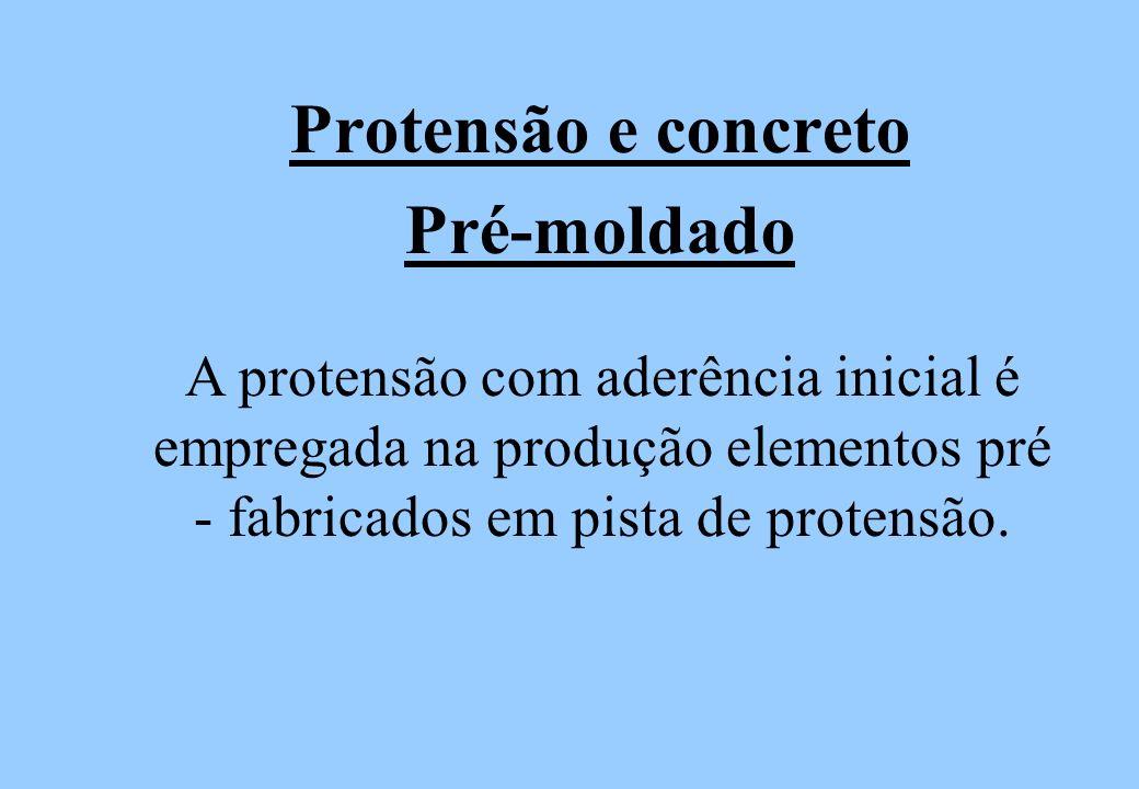 Protensão e concreto Pré-moldado A protensão com aderência inicial é empregada na produção elementos pré - fabricados em pista de protensão.