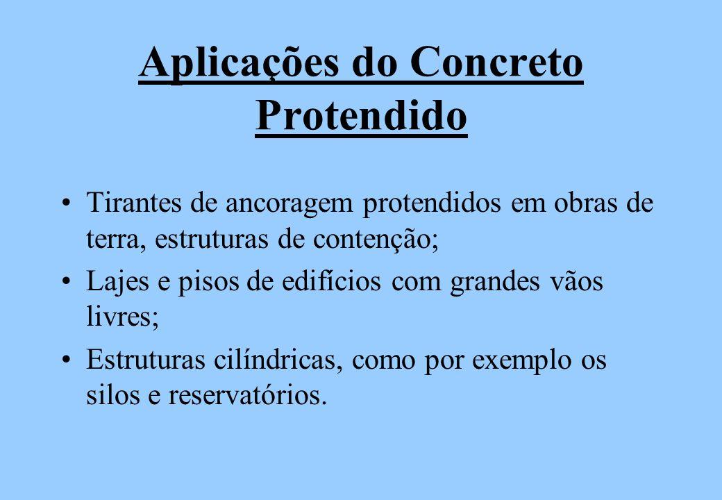Aplicações do Concreto Protendido Tirantes de ancoragem protendidos em obras de terra, estruturas de contenção; Lajes e pisos de edifícios com grandes