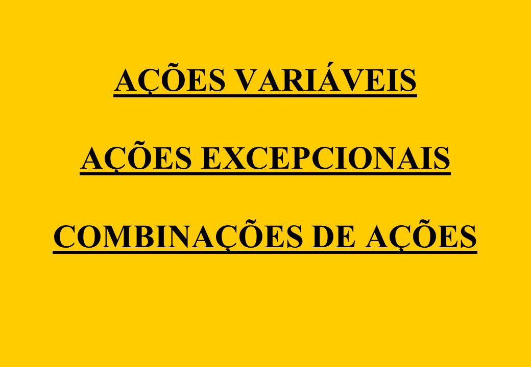 AÇÕES VARIÁVEIS AÇÕES EXCEPCIONAIS COMBINAÇÕES DE AÇÕES
