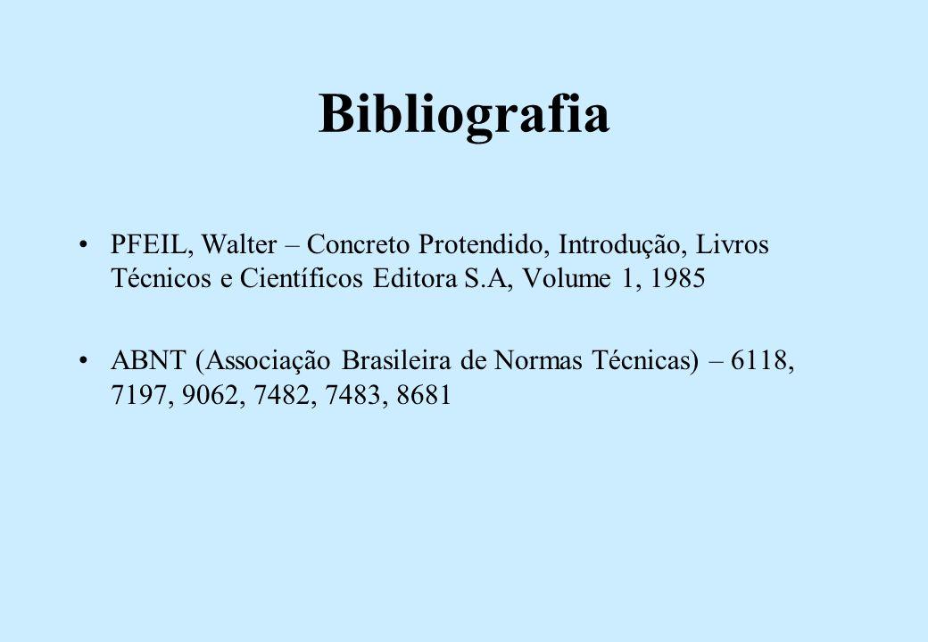 Bibliografia PFEIL, Walter – Concreto Protendido, Introdução, Livros Técnicos e Científicos Editora S.A, Volume 1, 1985 ABNT (Associação Brasileira de