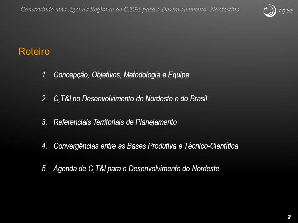 22 Roteiro 1.Concepção, Objetivos, Metodologia e Equipe 2.C,T&I no Desenvolvimento do Nordeste e do Brasil 3.Referenciais Territoriais de Planejamento