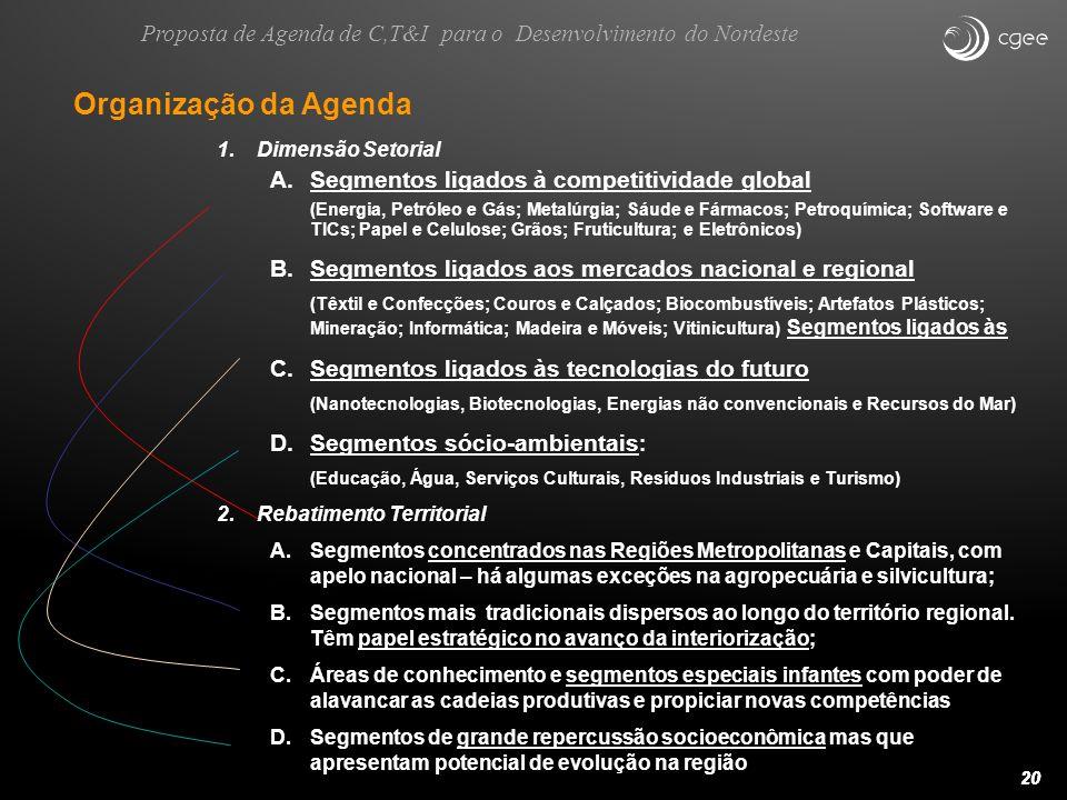 20 Organização da Agenda 1.Dimensão Setorial A.Segmentos ligados à competitividade global (Energia, Petróleo e Gás; Metalúrgia; Sáude e Fármacos; Petr