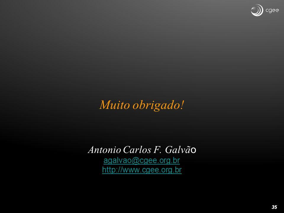 35 Muito obrigado! Antonio Carlos F. Galvã o agalvao@cgee.org.br http://www.cgee.org.br agalvao@cgee.org.br http://www.cgee.org.br