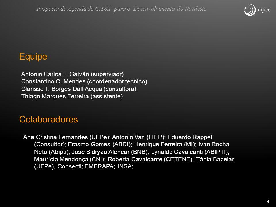 44 Equipe Antonio Carlos F. Galvão (supervisor) Constantino C. Mendes (coordenador técnico) Clarisse T. Borges DallAcqua (consultora) Thiago Marques F