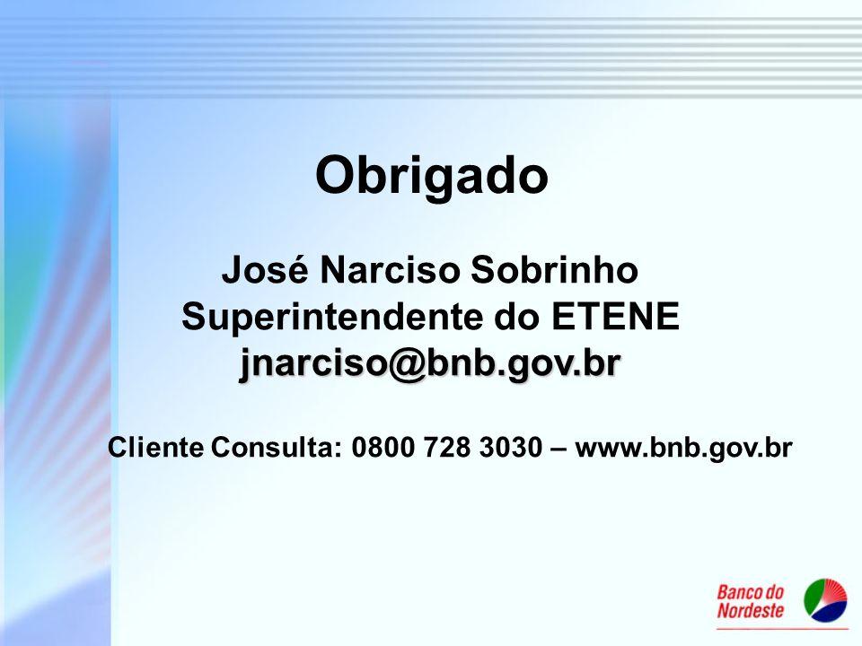 Obrigado jnarciso@bnb.gov.br José Narciso Sobrinho Superintendente do ETENE jnarciso@bnb.gov.br Cliente Consulta: 0800 728 3030 – www.bnb.gov.br