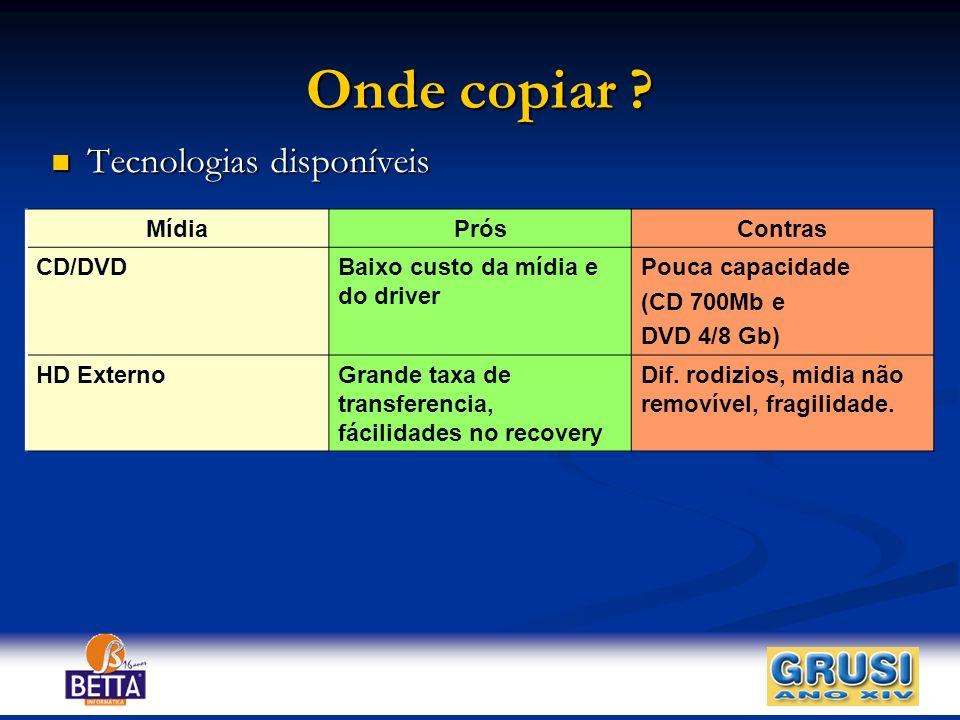 Onde copiar ? Tecnologias disponíveis Tecnologias disponíveis MídiaPrósContras CD/DVDBaixo custo da mídia e do driver Pouca capacidade (CD 700Mb e DVD