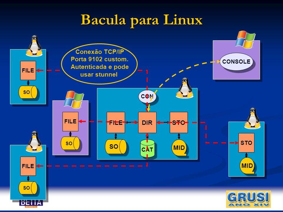 Bacula para Linux CAT DIRFILESTO MID CON SO FILE SO FILE SO FILE SO STO MID CONSOLE Conexão TCP/IP Porta 9102 custom. Autenticada e pode usar stunnel
