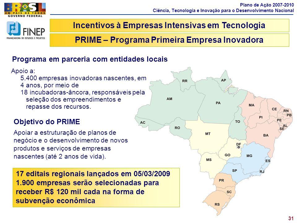 PRIME – Programa Primeira Empresa Inovadora 31 Apoio a: 5.400 empresas inovadoras nascentes, em 4 anos, por meio de 18 incubadoras-âncora, responsávei