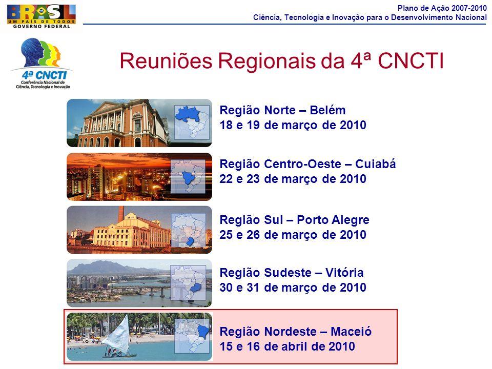 Reuniões Regionais da 4ª CNCTI Região Sul – Porto Alegre 25 e 26 de março de 2010 Região Nordeste – Maceió 15 e 16 de abril de 2010 Região Norte – Bel