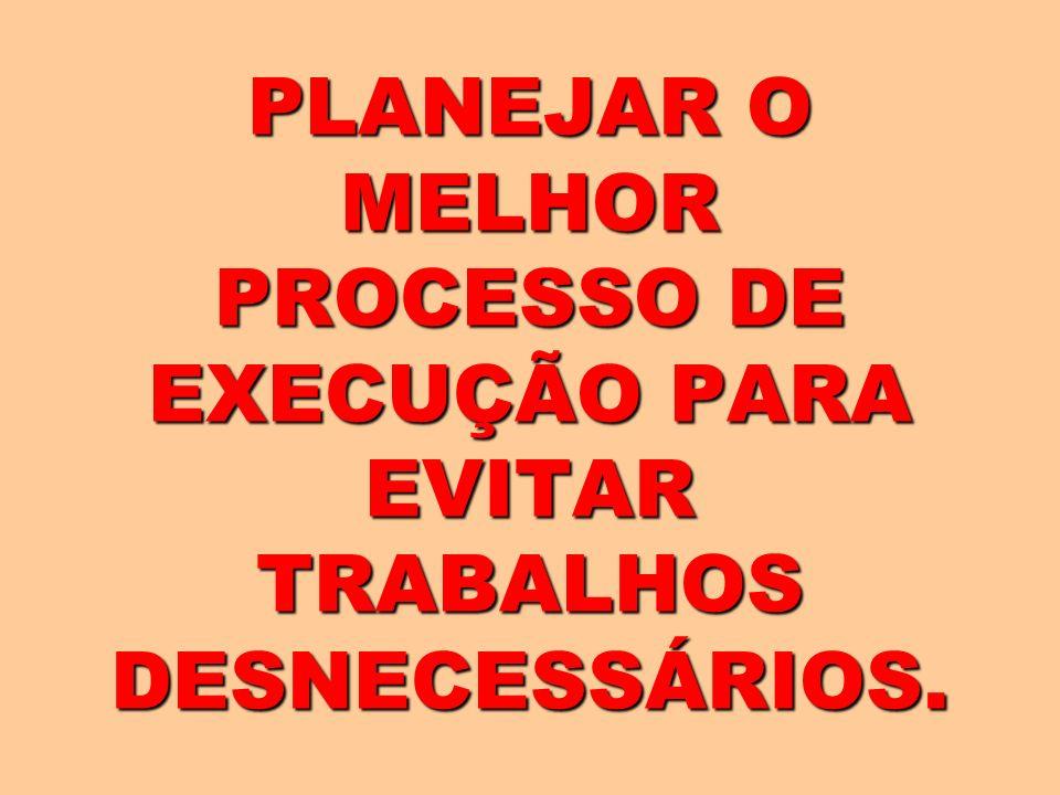 PLANEJAR O MELHOR PROCESSO DE EXECUÇÃO PARA EVITAR TRABALHOS DESNECESSÁRIOS.