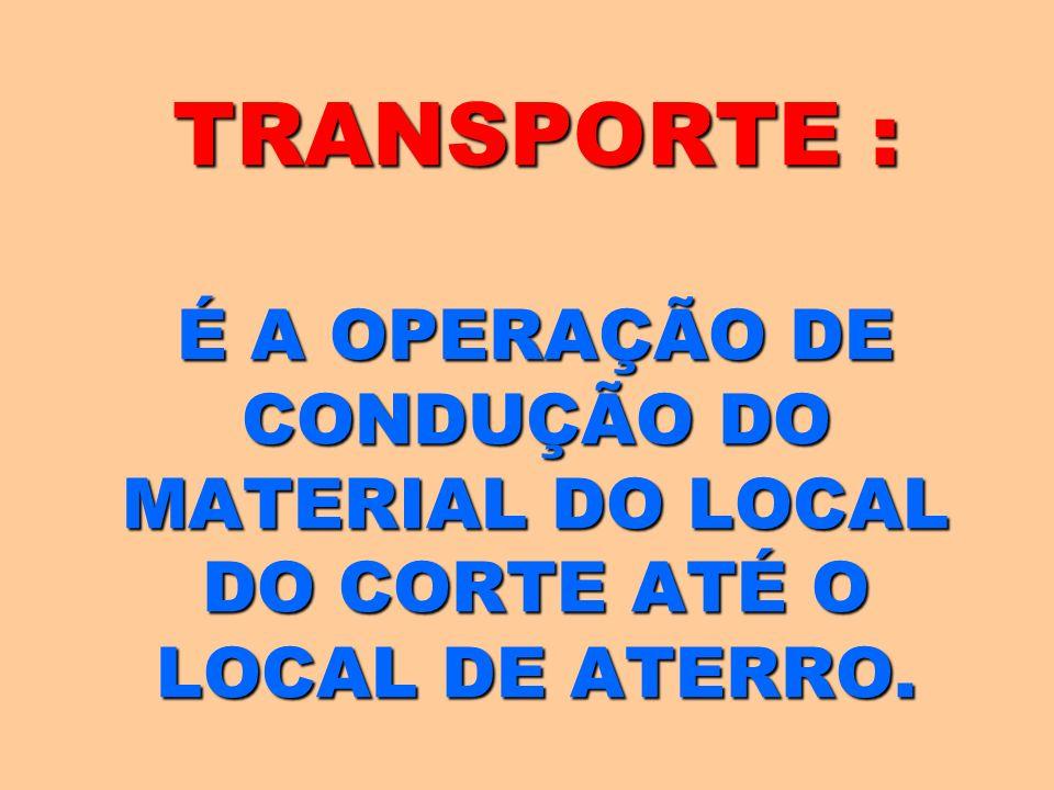 TRANSPORTE : É A OPERAÇÃO DE CONDUÇÃO DO MATERIAL DO LOCAL DO CORTE ATÉ O LOCAL DE ATERRO.