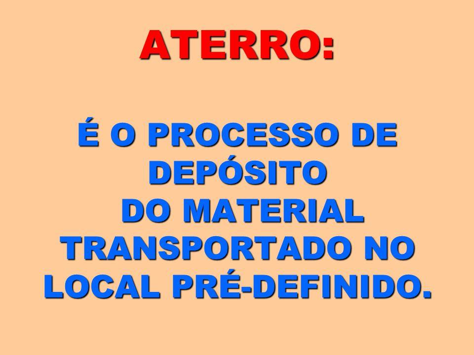ATERRO: É O PROCESSO DE DEPÓSITO DO MATERIAL TRANSPORTADO NO LOCAL PRÉ-DEFINIDO.
