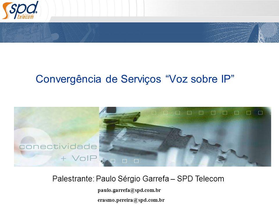 Convergência de Serviços Voz sobre IP Palestrante: Paulo Sérgio Garrefa – SPD Telecom paulo.garrefa@spd.com.br erasmo.pereira@spd.com.br