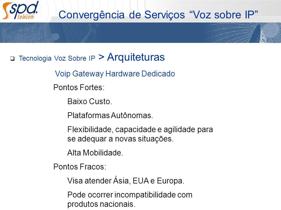 Tecnologia Voz Sobre IP > Arquiteturas Convergência de Serviços Voz sobre IP Pontos Fortes: Baixo Custo. Plataformas Autônomas. Flexibilidade, capacid