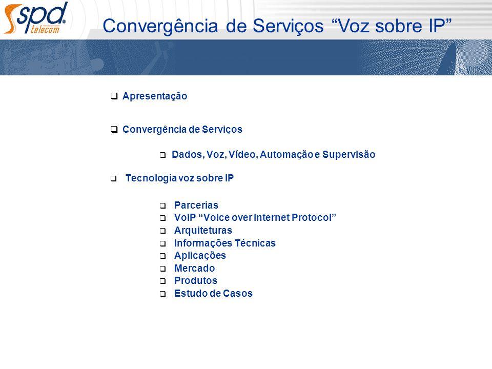 Apresentação Convergência de Serviços Dados, Voz, Vídeo, Automação e Supervisão Tecnologia voz sobre IP Parcerias VoIP Voice over Internet Protocol Ar
