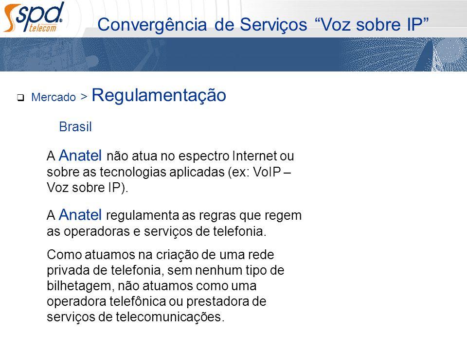 Mercado > Regulamentação Convergência de Serviços Voz sobre IP A Anatel não atua no espectro Internet ou sobre as tecnologias aplicadas (ex: VoIP – Vo