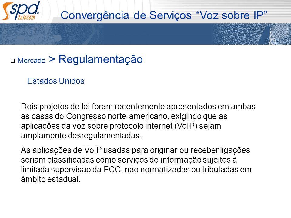 Mercado > Regulamentação Convergência de Serviços Voz sobre IP Dois projetos de lei foram recentemente apresentados em ambas as casas do Congresso nor