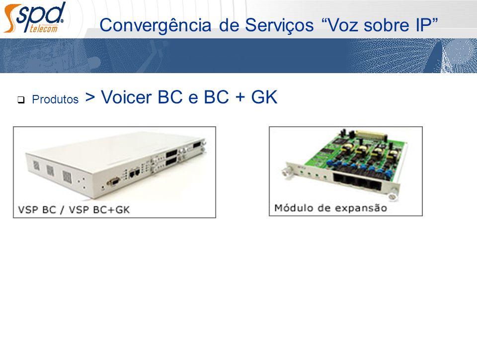 Convergência de Serviços Voz sobre IP Produtos > Voicer BC e BC + GK