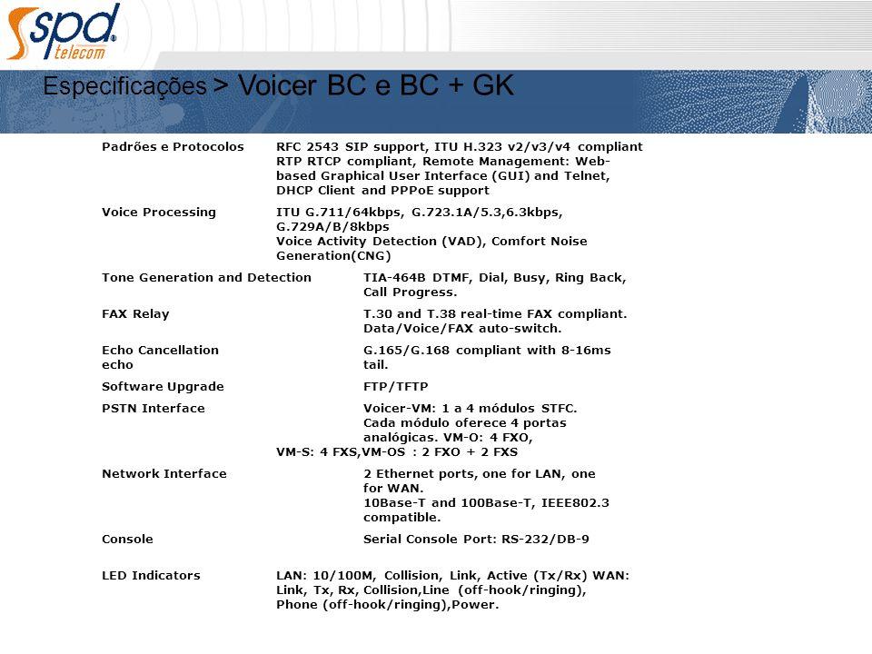Especificações > Voicer BC e BC + GK Padrões e ProtocolosRFC 2543 SIP support, ITU H.323 v2/v3/v4 compliant RTP RTCP compliant, Remote Management: Web